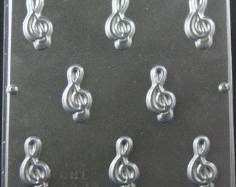 G Clef Musical Note Bite Size Chocolate Candy Mold 1335