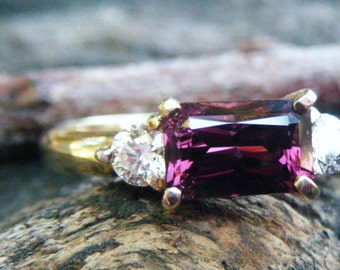 SPINEL and DIAMOND ring, Purple pink spinel engagement ring, alternative engagement ring, purple spinel eternity ring, spinel, conflict free