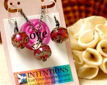 LOVE - Handmade Inspirational Jewelry - Glass Lampwork Pendant Necklace and Earrings