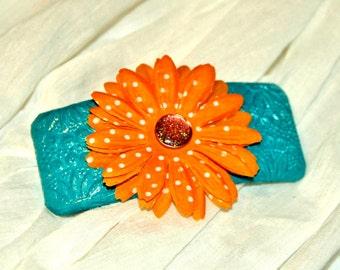 Aqua and Orange Flower Barrette