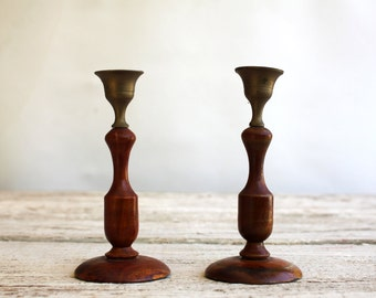 Candlestick Holders, Wood Pillar, Candle Mahogany, Turned Candlesticks, Standing Wood, for Flameless Pillars, Wood- Brass Candle Holders