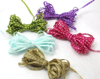 5 Yards 1/8 inch Dotted Line Embroidered Ribbon|5 Colors|Embroidery|Hair Bow Embellishment|Scrapbooking Craft Supplies|Doll Trim Decorative