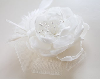 Delicate Bridal Flower with Feathers & Tulle White or Ivory