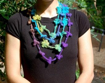 Multicolor Crochet Beaded Flower Necklace
