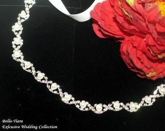 FREE SHIPPING,  bridal headband, wedding headband, stretch wedding headband, bridal pearl headband, ribbon headband, wedding hairpiece