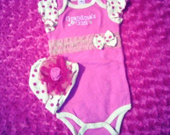Grandma's Girl Pink Onesie with polka dots with hat