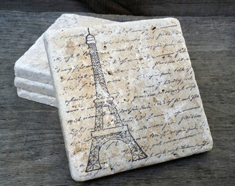 Hand Stamped Eiffel Tower with French Love Script Stone Tile Coasters Set of 4, French Table Decor, Beverage Coaster, Parisian Coasters
