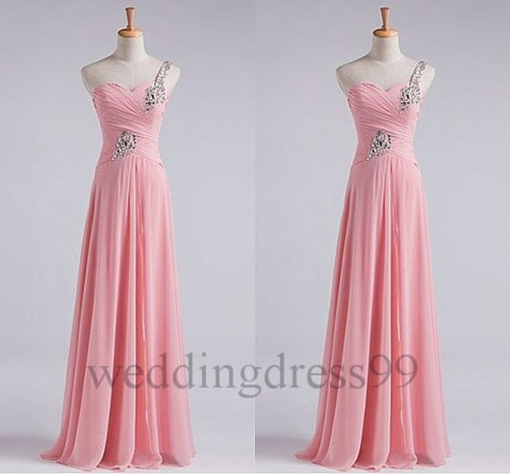 Long Beaded Pink Bridesmaid Dresses 2014 Fashion Prom Dresses Formal Evening Gowns Party Dress New Bridesmaid Dresses Cocktail Dresses