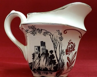 Vintage Transferware Pitcher Made In England By Sadler_Silver Luster Pitcher With A Castle