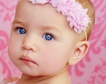 Pink Baby Headband - Photo Prop Headband - Shabby Rose Headband - Vintage Headband - Chiffon Headband - Baby Girl Headband - Pink Bows