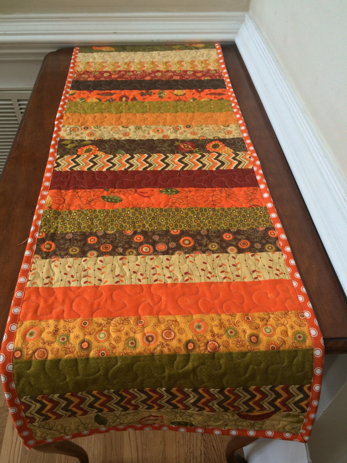 Reserved For Mary Reversible Fall Table Runner Quilted