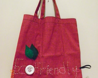Reusable Bag, tote - Eco Friendly - red and attached linner