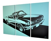 "Ford Mustang 90"" x 60"" (7.5' x 5') Canvas Triptych, Tropical Turquoise"