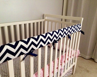Crib Rail Teething Guard - Navy &White Chevron