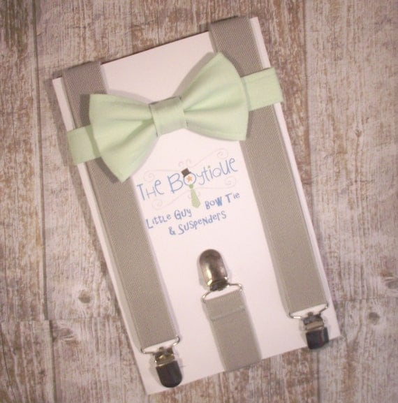 Mint Bow Tie and Grey Suspenders, Toddler Suspenders, Baby Suspenders, Ring Bearer, Light Green, Pastel
