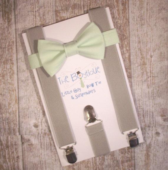 Mint Bow Tie and Grey Suspenders, Toddler Suspenders, Baby Suspenders, Ring Bearer, Light Green, Pastel