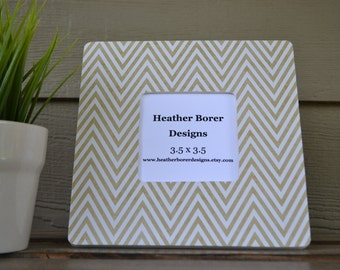 8x8 Gold and White Chevron Picture Frame for 3.7 Photo - wedding, housewarming, gift