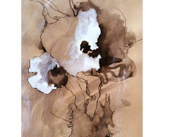 Art ink drawing contemporary dlower art Mixed media abstract flower drawing