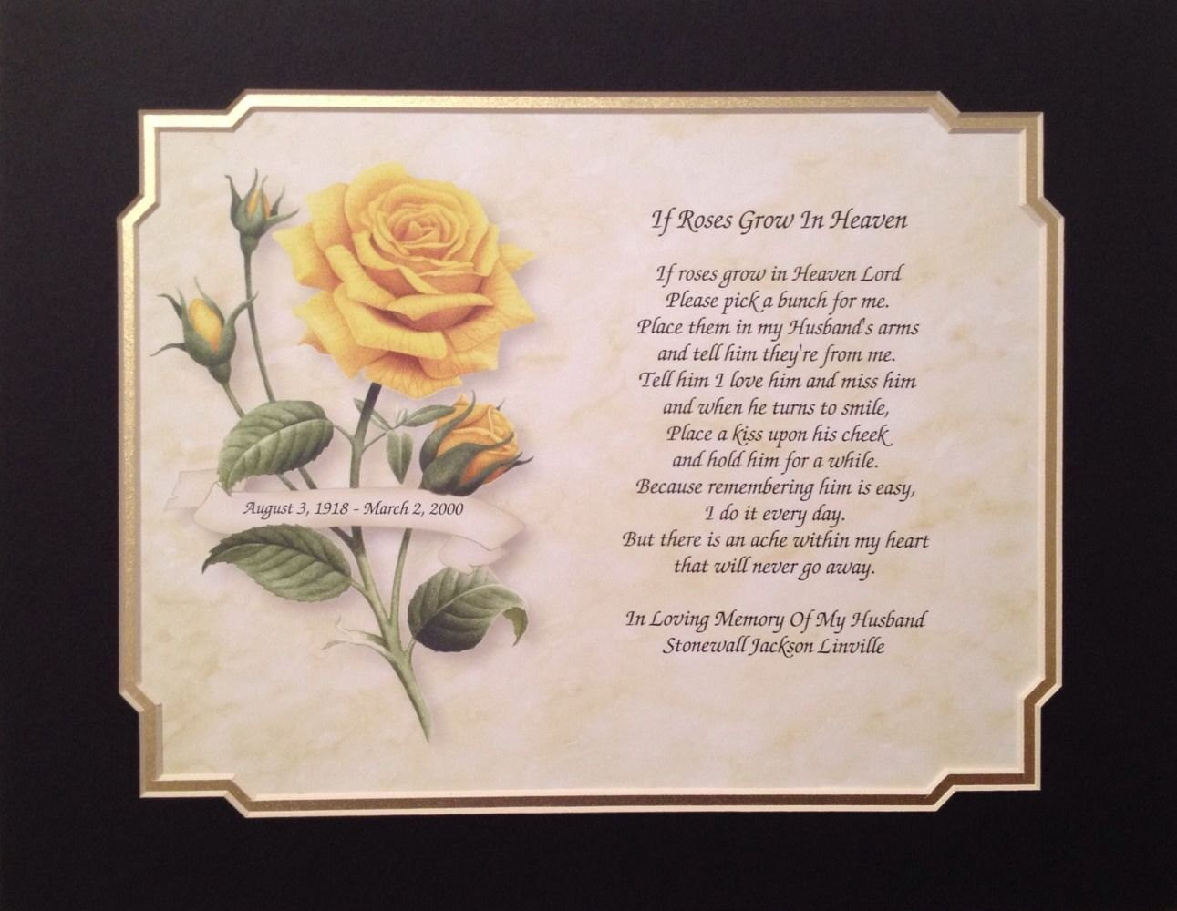 In memory of ornaments - Memory Of Husband Gift Personalized Print If Roses Grow In Heaven Sympathy Poem Memorial Day Christmas