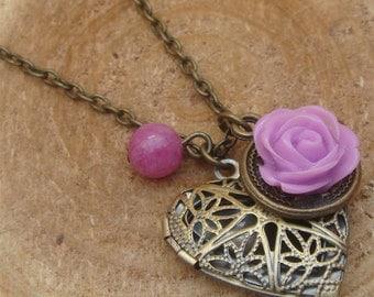 Antique Brass Flower Jade Locket Necklace Victorian Jewelry Gift Vintage Style