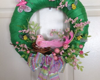 Spring Wreath, Summer Wreath, Pink Bird & Her Eggs Wreath. 12inches