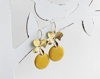 Ich bin Luxus - 'Emaille for YOU - mustard' orchid earrings