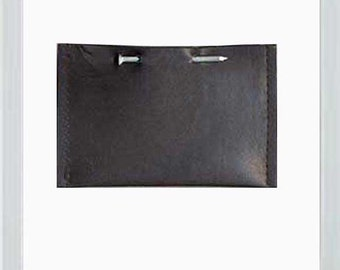 Black Leather Nail Business Card Holder