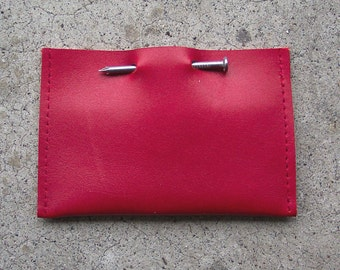Red Leather Nail Business Card Holder