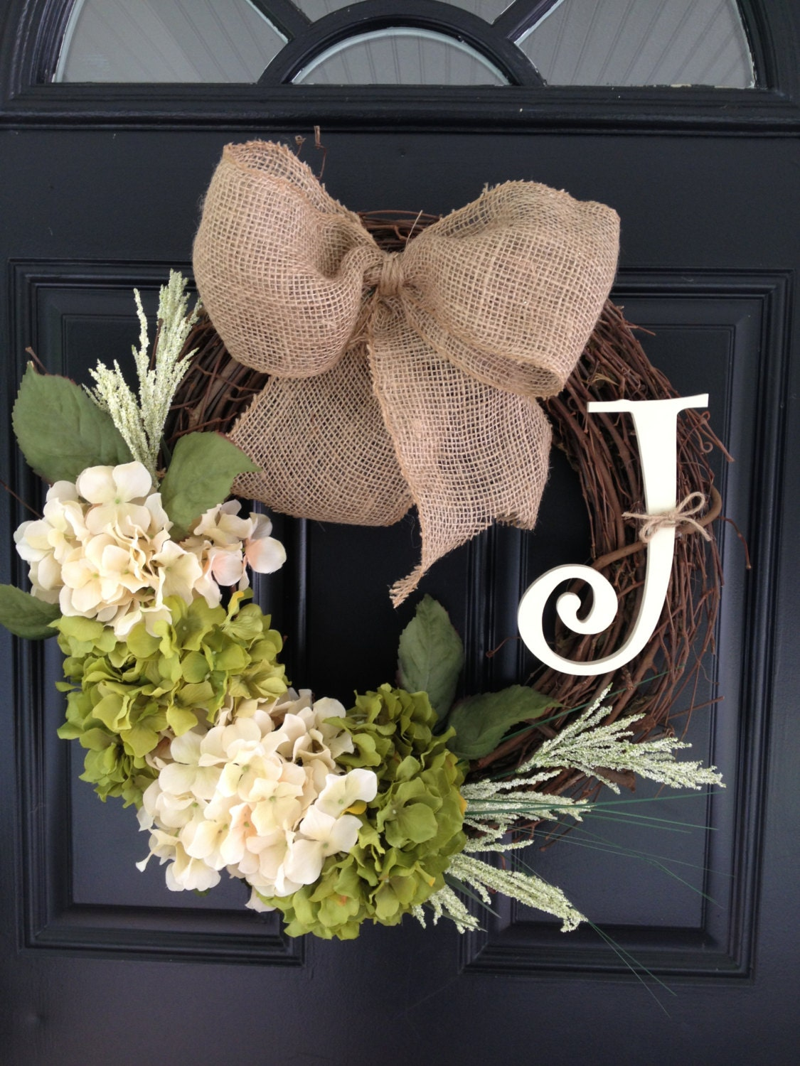 Handmade personalized initial grapevine wreath with burlap