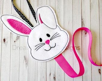 ITH Bunny Bow Holder Felt Embroidery Design Clippie Holder
