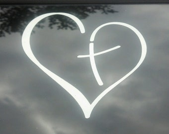 Vinyl Decal Heart with Cross in Center Christian for Car Auto Mirror Window Sticker