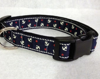 5/8 Wide Navy Nautical Anchors Dog Collar