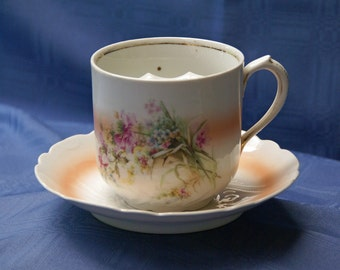 Mustache Cup and Saucer ~ Mustache Coffee Mug ~ Large/Oversized (16 ozs.) ~ Victorian ~ Vintage/Antique