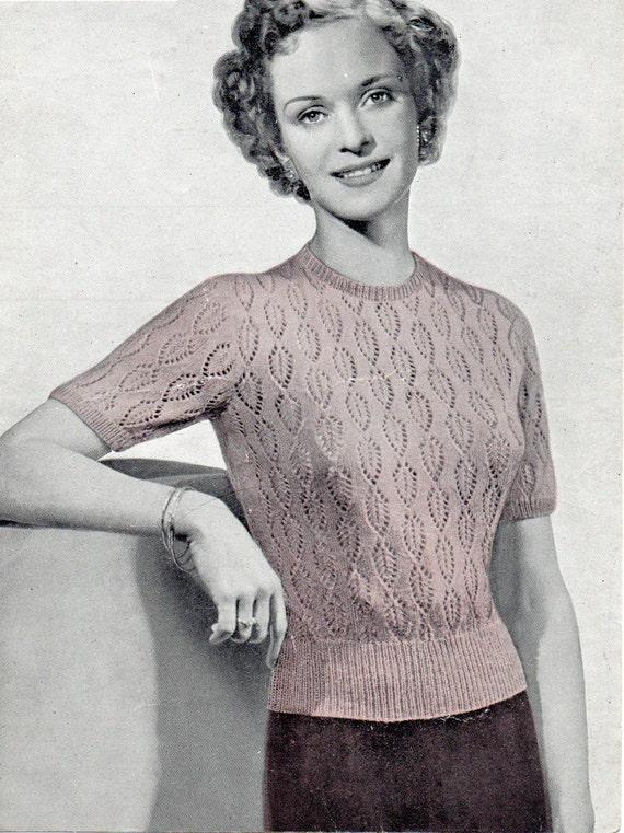 Vintage Leaf Knitting Pattern : Ladies Leaf Patterned Jumper Instant Download by ...
