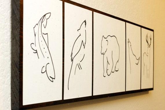 Art animalier minimaliste dessins originaux sur bois lac for Dessin minimaliste