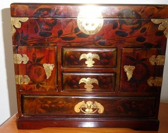 Chinese Lacquer Jewellery Cabinet