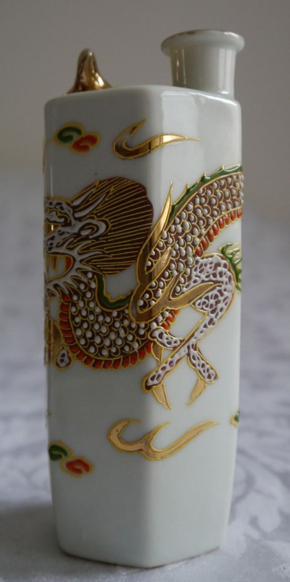 Rare Dragonware Antique Occupied Japanese Sake Bottle Decanter