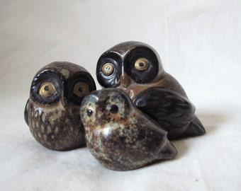 Vintage 70's Ceramic Owl Set by OMC Japan