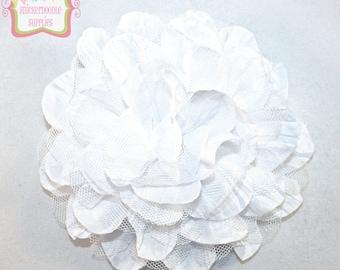 """Large 4.5"""" White Silk Tulle Flower"""
