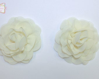 """3.5"""" Ivory Rose Flower 2 Pieces"""
