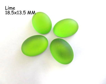 Cabochon, Luna Soft, 18.5 x 13.5 MM, Lime, Oval, Wire wrapping, Bead Embroidery, Bright Colors, Neon Color, Glow