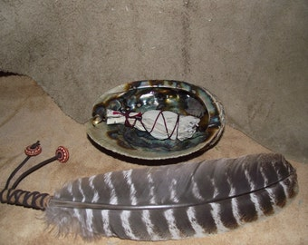 Sage White smudge Kit with Barred Turkey Feather