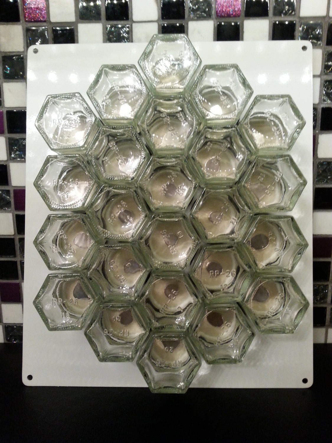 Diy Hex Empty Glass Spice Jars Magnetic Spice By