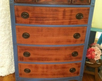 SOLD*** Beautiful Shabby Chic Antique Tall Blue Dresser with Walnut drawers