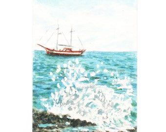 Aceo Original watercolor .Yacht from the shore Original watercolor, Drawing, NOT a Print , an Artistic Aceo