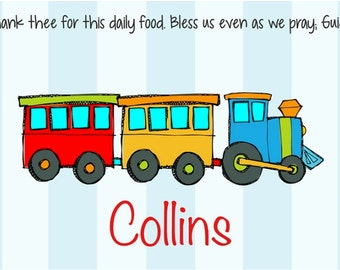 Personalized Placemat - Kids Placemat - Childrens Placemat - Childs Placemat - Laminated Placemat - Baptism Gift - Christening Gift - Train