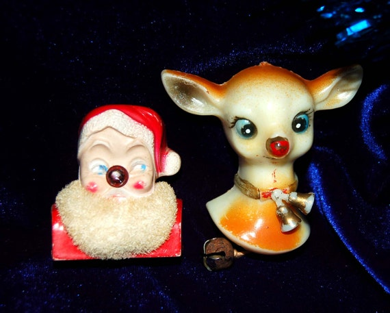 Vintage Santa Light Up Nose Pin And Rudolph Pin Repair