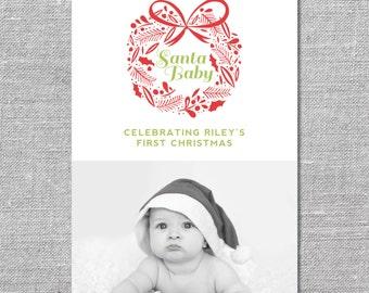 Photo Holiday Card   DIY Printable or Printed   Santa Baby   Baby's First Christmas   5x7