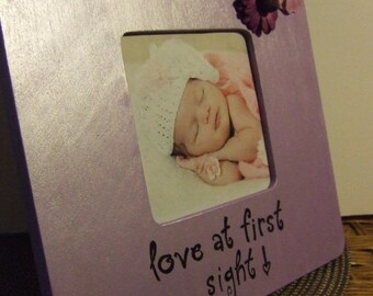 Baby Frames Love at first sight baby girl frame Newborn frame Baby girl frame Purple Nursery decor Baby shower gift unique baby frame gift