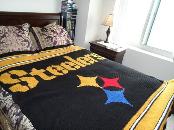 Crochet Pattern Steelers Afghan : Steelers Crochet Afghan PATTERN by SewLoveToHook on Etsy